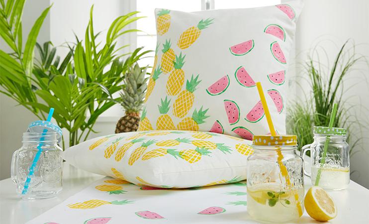 Kartoffeldruck - Ananas und Melone auf Stoff